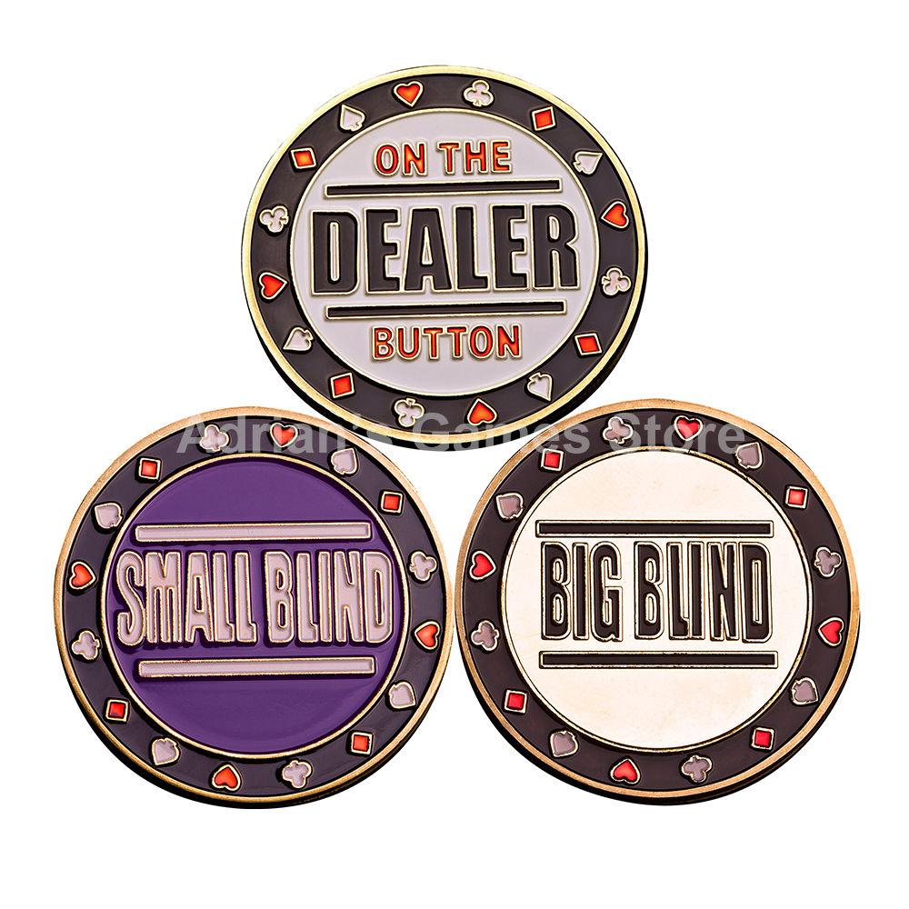 3PCS / Set 1 Dealer 1 Small Blind 1 Big Blind Poker Chips Set Juegos de Poker Accesorio Brass Poker Card Guard