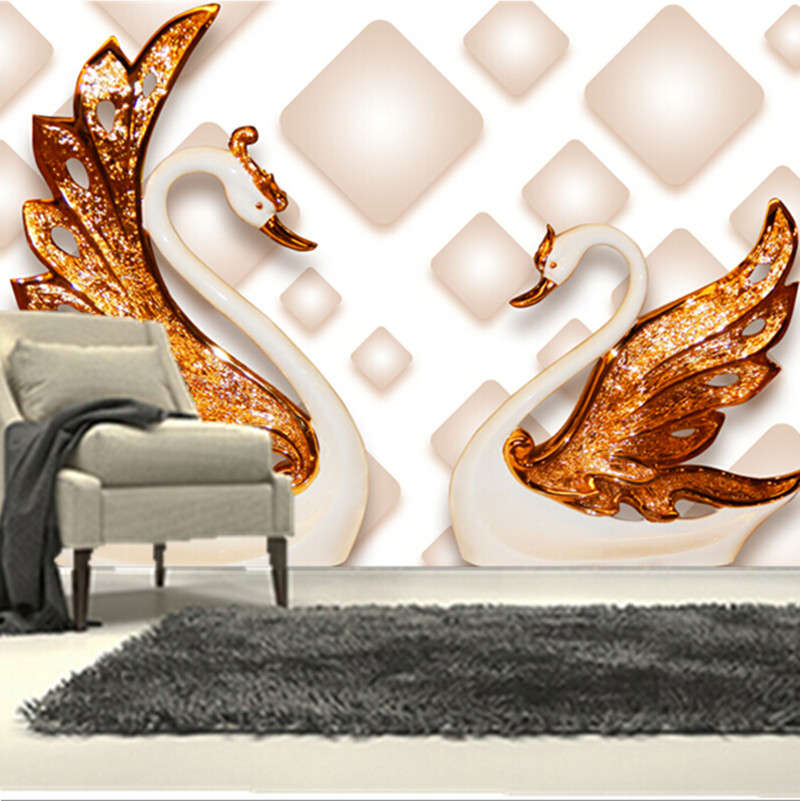 The custom 3D murals,3D stereo wallpaper, two beautiful swans papel de parede,living room sofa TV wall bedroom wall paper custom 3d murals cartoon wolf papel de parede hotel restaurant coffee shop living room sofa tv wall children bedroom wallpaper