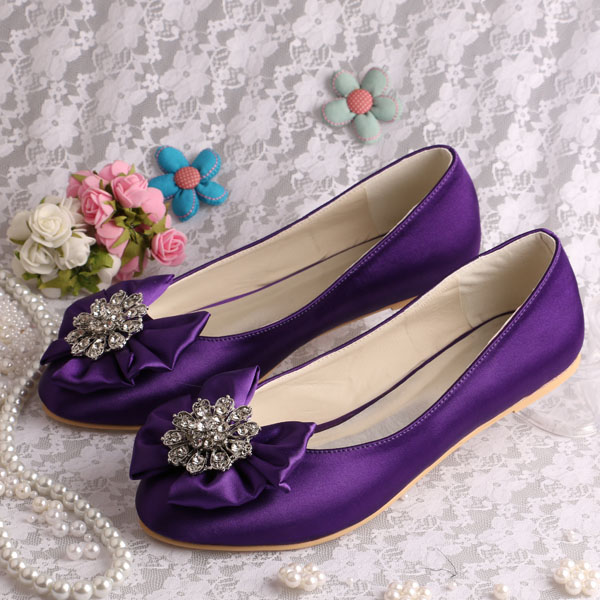 ФОТО Wedopus 2016 Ballet Women Shoes for Wedding Purple Satin with Rhinestone Bow tie Size 42