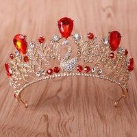 Vintage Bride Hair Accessories Jewelry Elegant Quinceanera Tiaras Crowns Wedding Bridal Rhinestone Crystal Pageant Crown