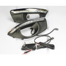 LED Daytime Running Light For Hyundai Santa Fe 2010 2011 2012 DRL Car-styling Daylight Fog Lamp Cover Dimming Style Relay brand new turn off and dimming style relay led car daytime running lights for chevrolet cruze 2010 2011 2012 2013 with fog lamp