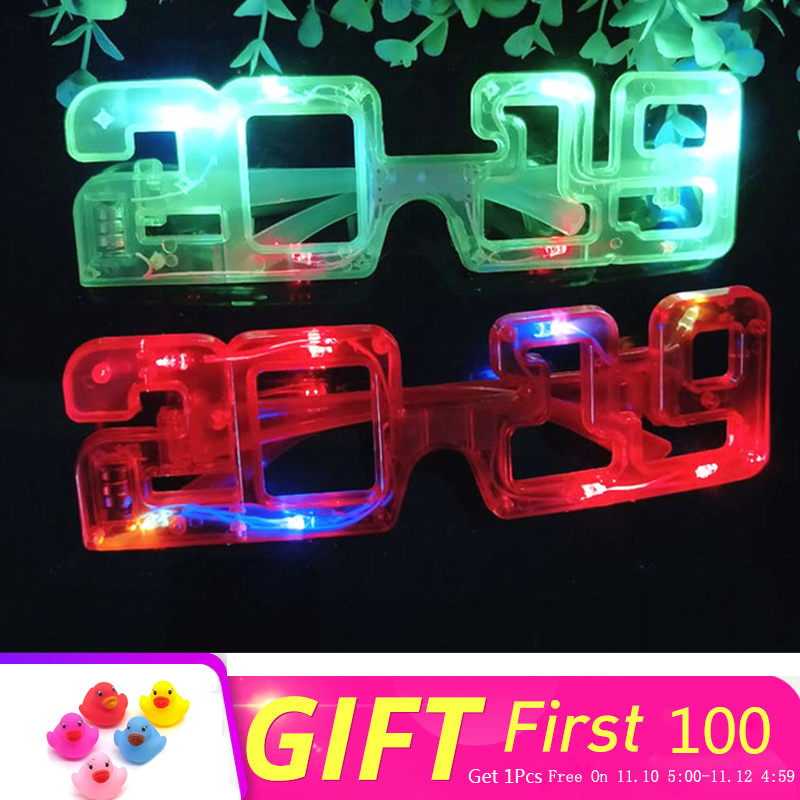 Novelty Christmas Luminous Toys New 2019 Number LED Glowing Glasses Party Decorations Creative Flash Glasses Child Toy New Year цена