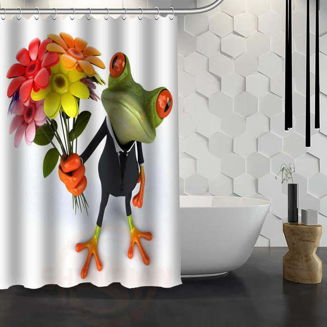Custom 3d Funny Frog Shower Curtain With Hooks Fabric Bathroom Eco Friendly Waterproof