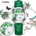 SINOBI Новый Зеленый Бамбук Женщины Часы Для Китайский Бренд Моды Дамы Кожа Наручные Часы Женский Водонепроницаемый Часы Femmes Horloge