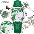 SINOBI New Green Bamboo Women Watches For Chinese Brand Fashion Ladies Leather Wristwatch Female Waterproof Clock Femmes Horloge