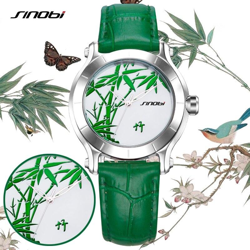 Prix pour SINOBI Nouveau Vert Bambou Femmes Montres Pour Chinois Marque Dames De Mode En Cuir Montre-Bracelet Femelle Étanche Horloge Femmes Horloge
