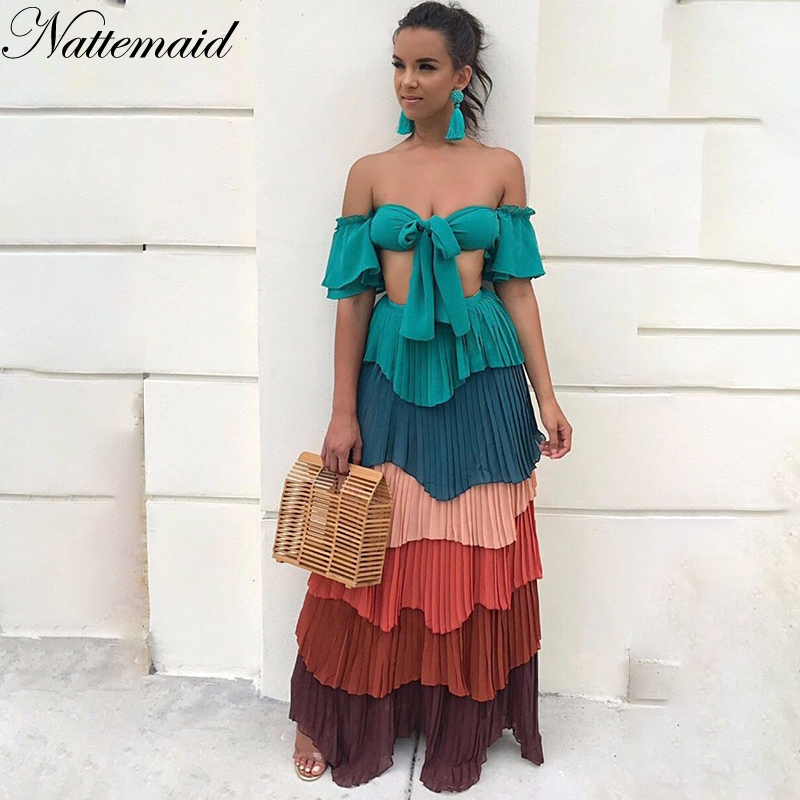 NATTEMAID 2018 Summer 2 Piece Set Women Crop Top And Long Skirt Set Sexy Party Casual Two Piece Set Strapless Slash Neck Set