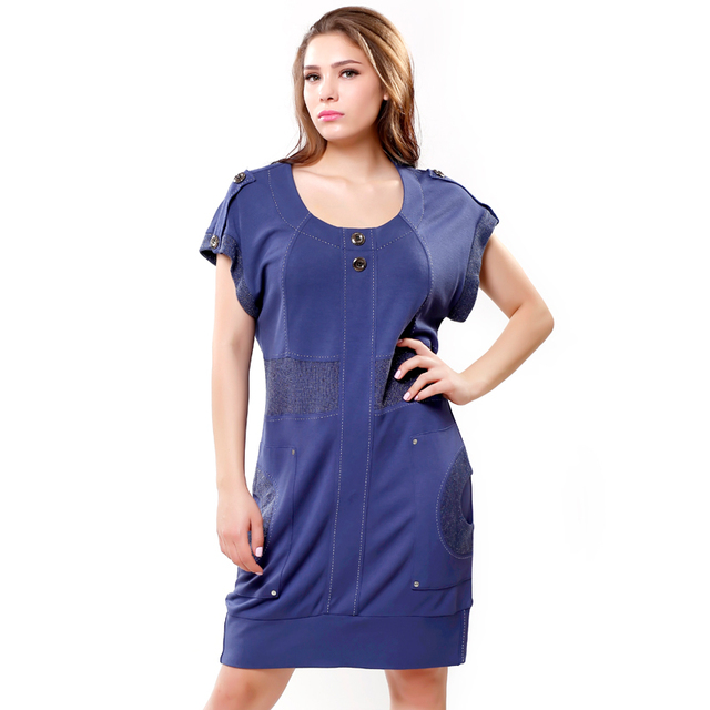 BFDADI Plus size 2016 Spring New Women's Dress comfortably casual round neck batas short sleeve dress cotton Free Shipping 6270