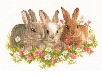 Top Quality Lovely Cute Counted Cross Stitch Kit Flower Bunnies We Three Kings Rabbits in a Field of Flowers 0143866