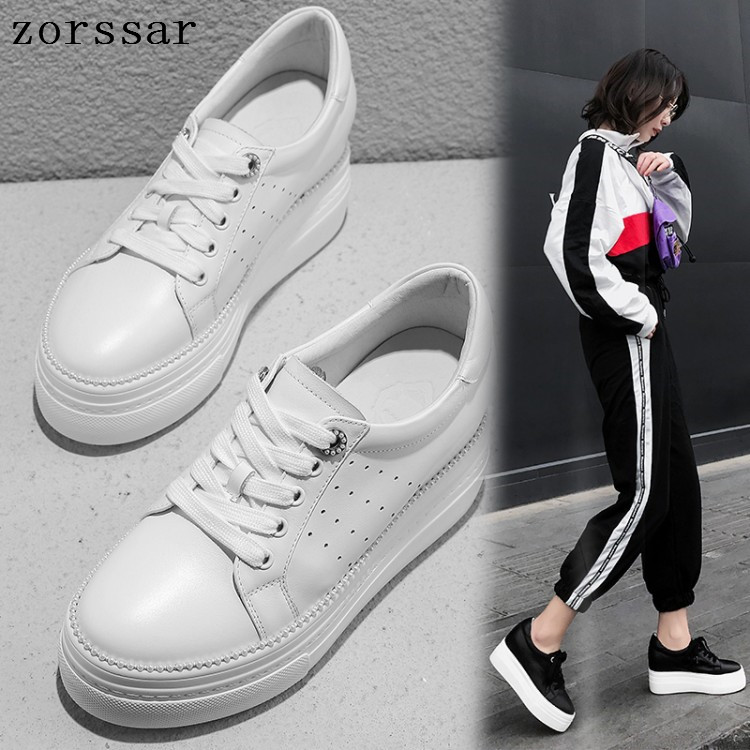 Zorssar Women Flats Platform Loafers Ladies Elegant Genuine Leather Moccasins Shoes Woman Autumn Lace Up Casual Womens