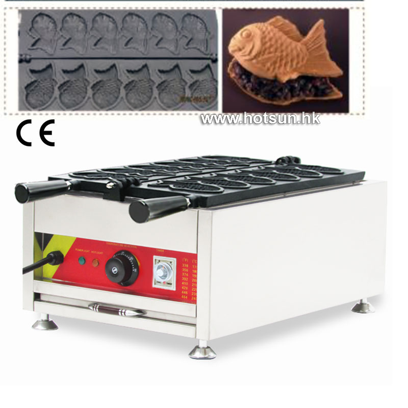 Commercial Stainless Steel  Use Non-stick 110v 220v Electric 6pcs Taiyaki Fish Waffle Machine Baker non stick six moulds electric taiyaki fish shape waffle machine fish type taiyaki machine commercial use