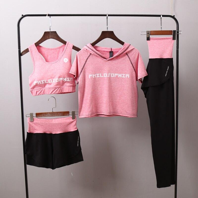 <+>  Женская йога устанавливает быстросохнущий фитнес спортивная одежда с капюшоном футболка + бюстгальте ①