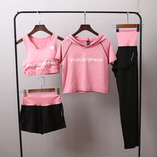 2018 new 4 piece women sportswear female running pants Women yoga sets quick dry fitness sportswear hooded t shirt+bra+pants 4 piece set womens outdoor sports running gym clothes