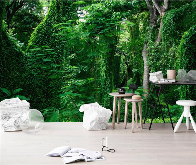 Custom Photo Wallpaper Forest 3D Wall Murals Scenery Green Tree 3D Bedroom Wallpaper Landscape TV Sofa Background Wallpaper 3D custom large murals bar retro fashion flag sticker wallpaper coffee shop restaurant dinig room tv sofa wall bedroom 3d wallpaper
