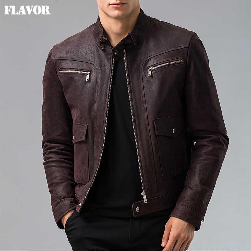 3e2bef2ec5f Мужская натуральная кожаная куртка из свиной кожи натуральная кожаная куртка  мужская мотоциклетная кожаная куртка S-