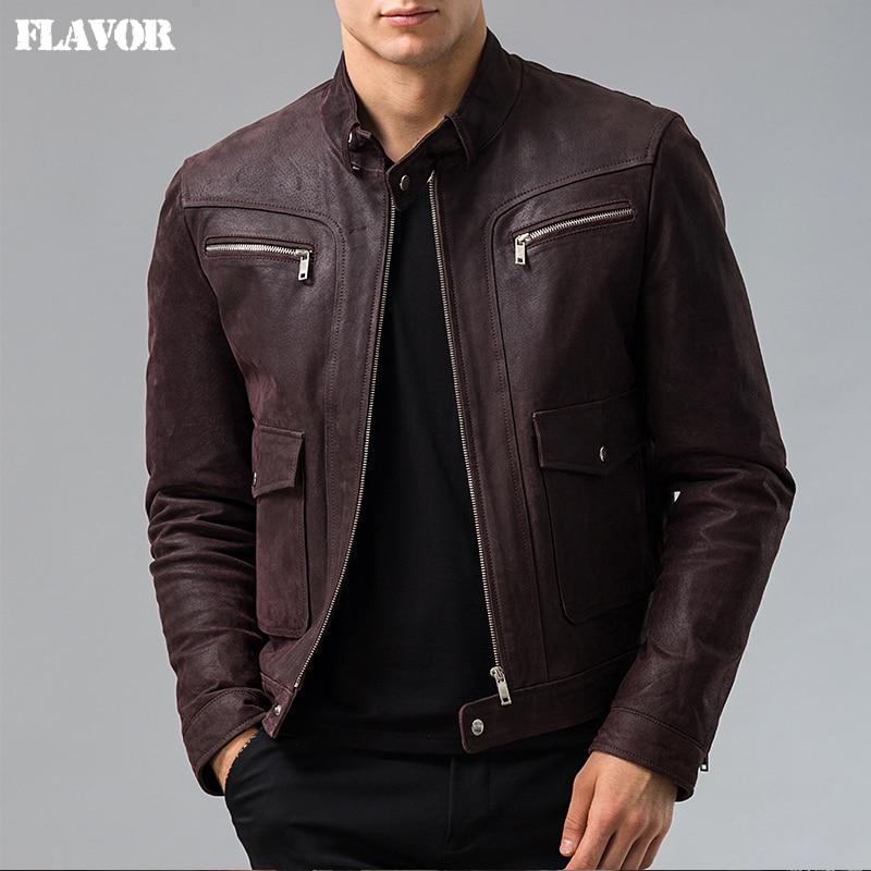 Men's Genuine Leather jacket Pigskin real leather jacket men motorcycle leather coat S-6XL big size