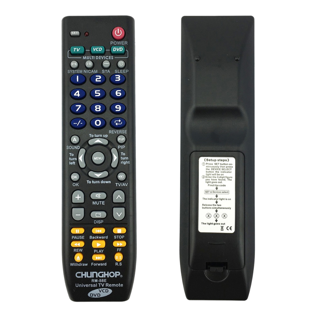 EDT-CHUNGHOP Universal Remote Control 1PCS RM-88E TV/VCD/DVD 3 in 1 USE FOR SONY SAMSUNG TOSHIBA PANASONIC SANYO SHARP LG AIWA