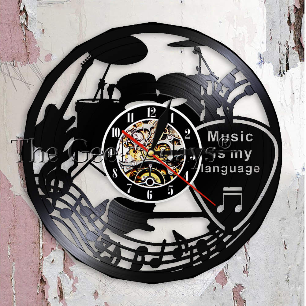 Music Is My Language Music Inspirational Quote Wall Clock Music Theater Decoration Guitar Drums Vintage Vinyl Record Wall Clock