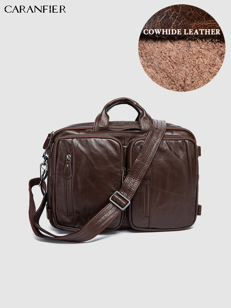 CARANFIER Mens Travel Bags Genuine Cowhide Leather Handbags Vintage Large Capacity Shoulder Bags Multi Function Luggage Bags