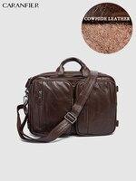 CARANFIER Mens Travel Bags Genuine Cowhide Leather Handbags Vintage Large Capacity Shoulder Bags Multi Function Luggage Bags
