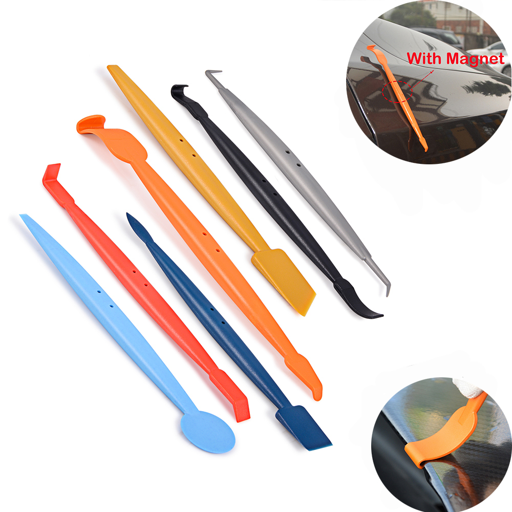 FOSHIO 7pcs Vinyl Film Wrap Magnetic Squeegee Car Wrapping Foil Magnet Micro Scraper Set Stickers Decal Window Tint Tool Kit