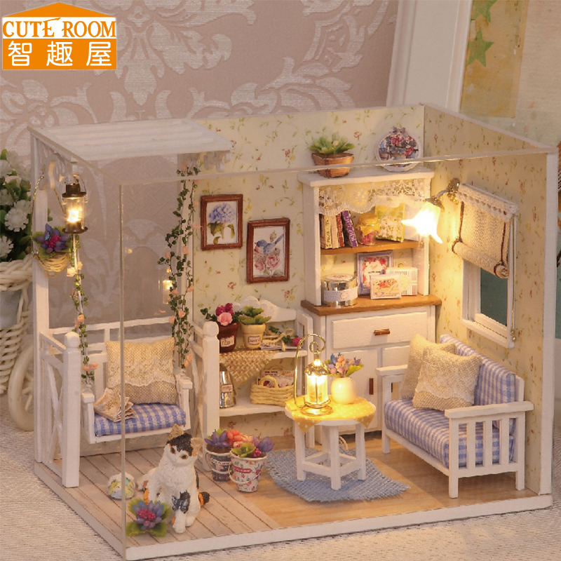 Berkumpul DIY Doll House Toy Miniatura Miniatura Doll Houses Miniature Toys Dollhouse Dengan Perhiasan LED Lampu Birthday Hadiah H13