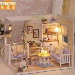 Brinquedo de montagem DIY Casa de Boneca De Madeira Casas de Boneca Em Miniatura Casa De Bonecas Miniatura brinquedos Com Móveis Luzes LED Presente de Aniversário H13
