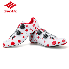 SANTIC Road Cycling Shoes Men Carbon Fiber Shoes Road Bike Red&White Dots Self-Locking Sport Bicycle Shoes Zapatillas Ciclismo