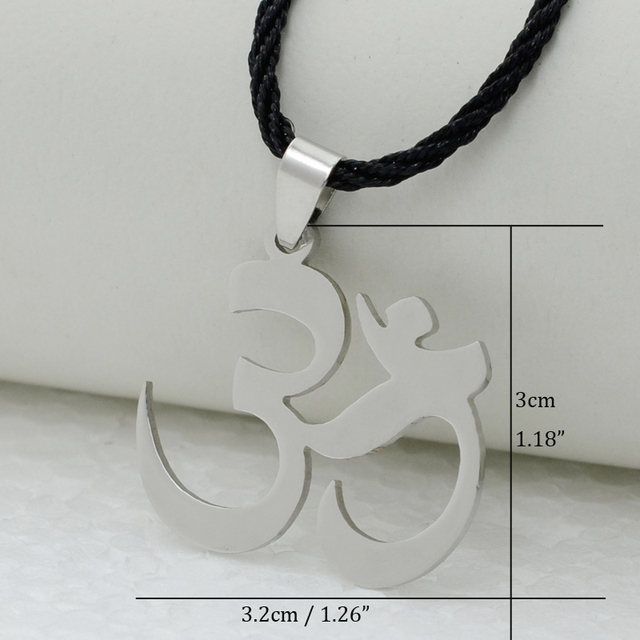 India Yoga Necklace Pendant Women OHM Hindu Buddhist AUM OM Hinduism Outdoor Sport,18″24″ Chain Stainless Steel Jewelry Men Girl