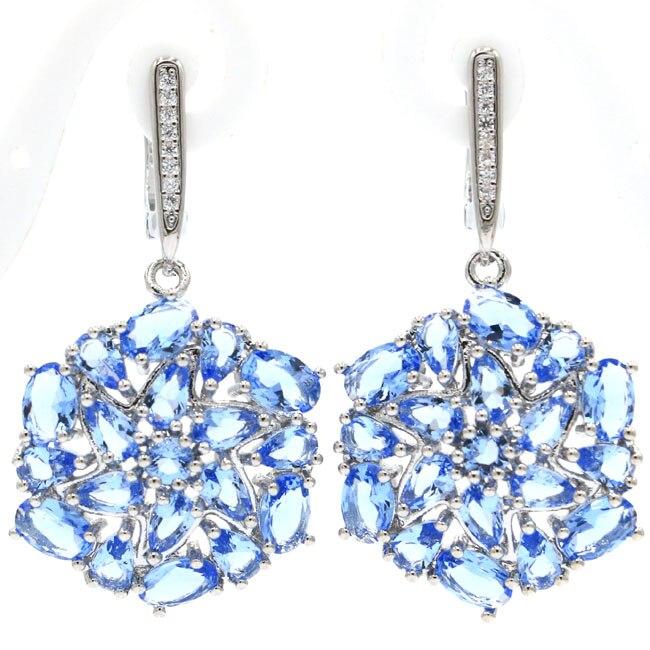 Schöne Reiche Blau Violet Tanzanite CZ frau Geschenk 925 Silber Ohrringe 41x22mm