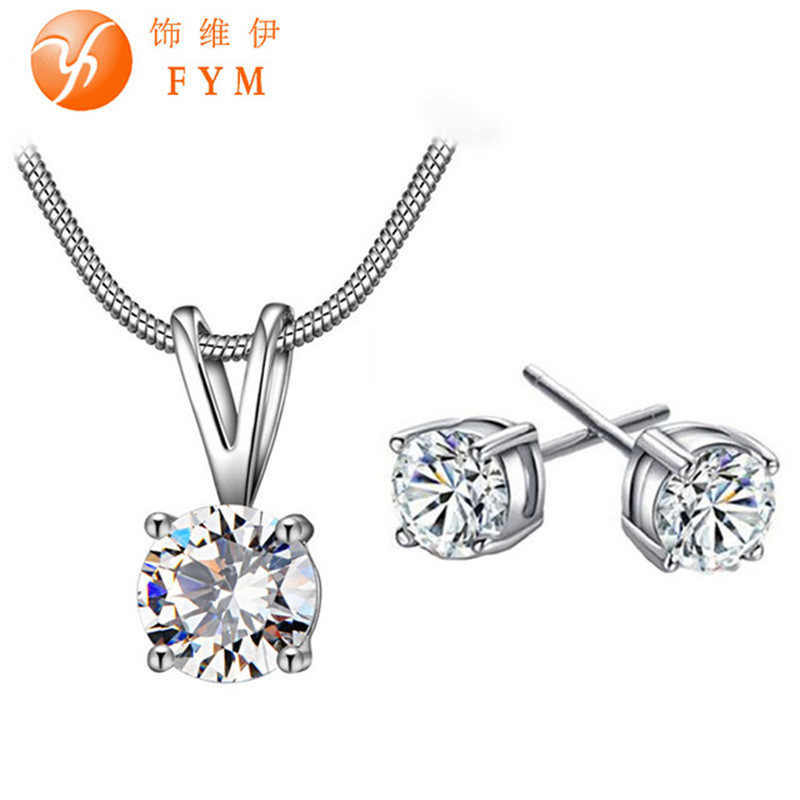7 Colors New Women Fashion Bridal Jewelry Set Silver Color Fashion Chain Necklace Drop Earring Cubic Zircon for Woman Wedding
