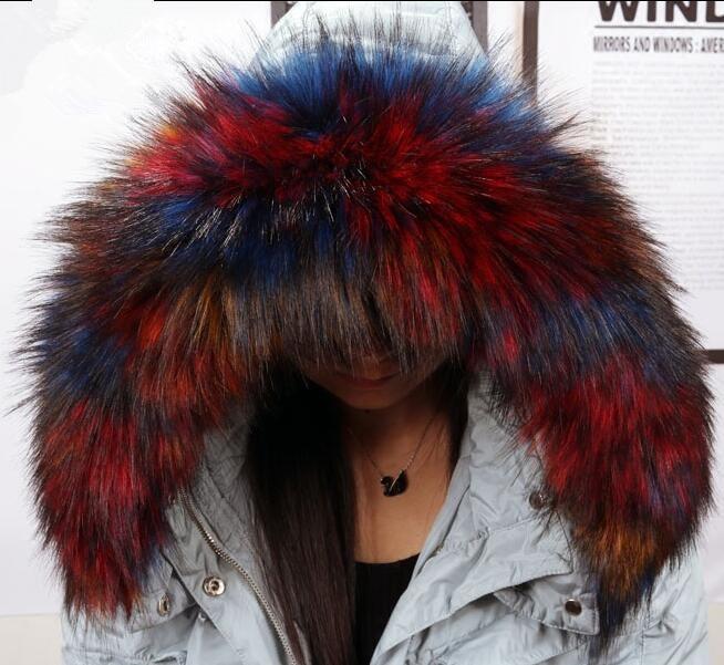 womens faux Fox raccoon fur collar down coat overcoat hooded collar winter thicken warm muffler scarf kids faux fur collar 002