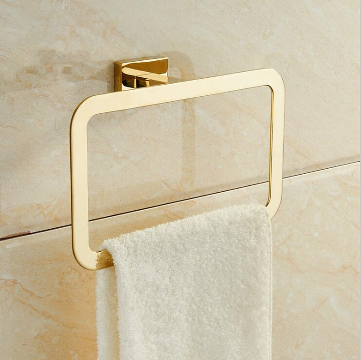 Modern Pure Golden Towel Ring Towel Holder Square Wall-Mounted Towel Rack Bathroom Accessories Home Decoration