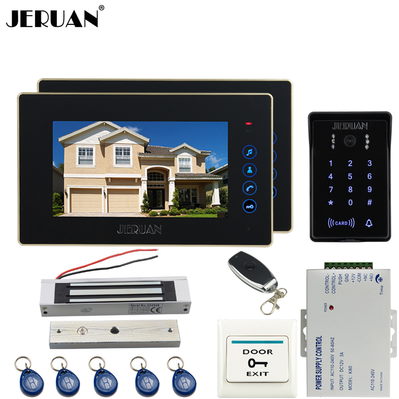 JERUAN Wired 7`` video doorphone intercom system kit 2 monitor waterproof touch key password keypad camera 180KG Magnetic lock jeruan wired 7 touch key video doorphone intercom system kit waterproof touch key password keypad camera 180kg magnetic lock