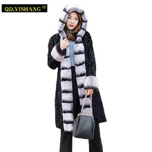 Real Karakul Sheep Fur coat Rex rabbit fur hooded Long section winter Keep warm New fashion real