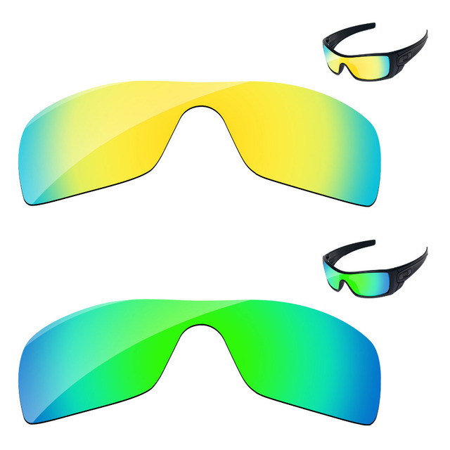 1487f7f695155 Emerald Green   24K Golden 2 Pieces Mirror Polarized Replacement Lenses For  Batwolf Sunglasses Frame 100% UVA   UVB Protection