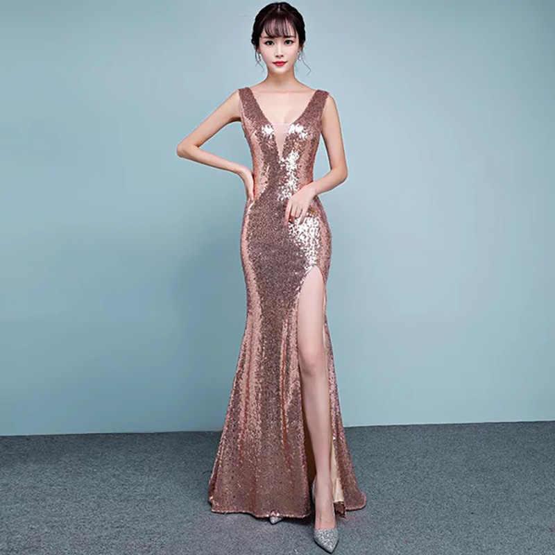 D025 summer rose gold sequined v-neck floor length side split sleeveless  long dress 2fa29aba3197