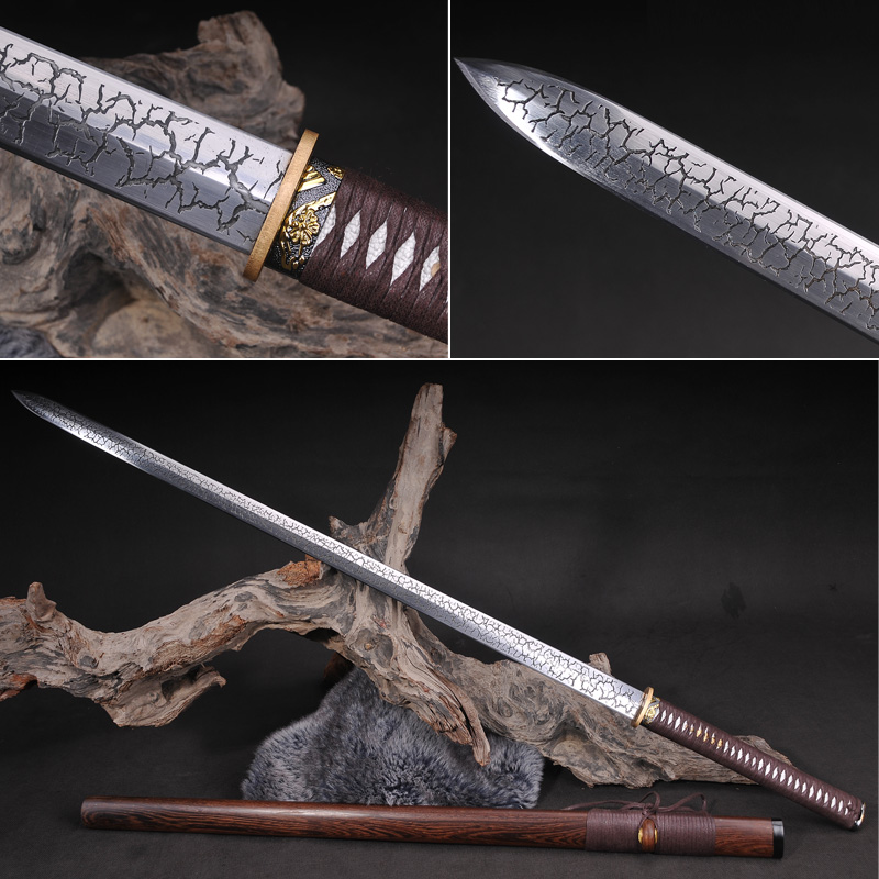 Chinese Sword Hand-made t10 Folded steel Tang Dynasty Straight Full Tang Blade Functional Sword Japanese Samurai Sword KatanaChinese Sword Hand-made t10 Folded steel Tang Dynasty Straight Full Tang Blade Functional Sword Japanese Samurai Sword Katana