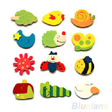 24 pcs Colorful Kids Baby Wood Cartoon Fridge Magnet Child Kids Educational Toys for Children(China)