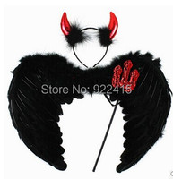 Performance Props Ball Cosplay Halloween Decoration Supplies Devil Feather Wings Set Piece