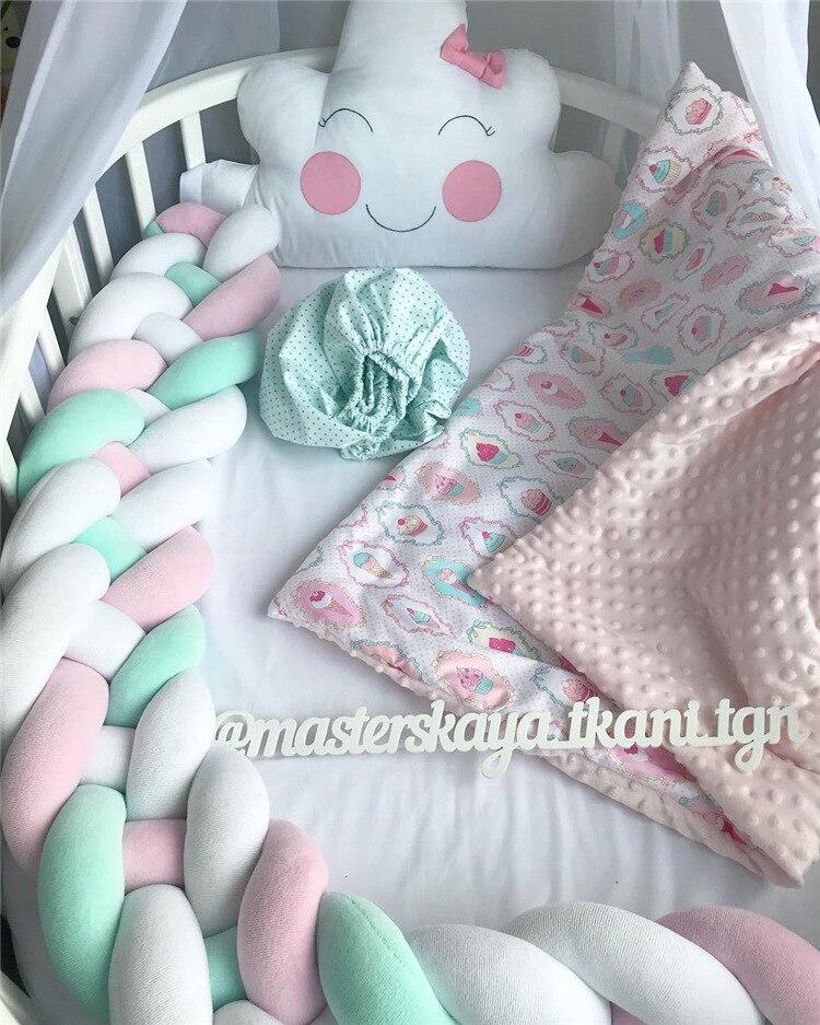 2 m bebê cama pára-choques quatro dobras