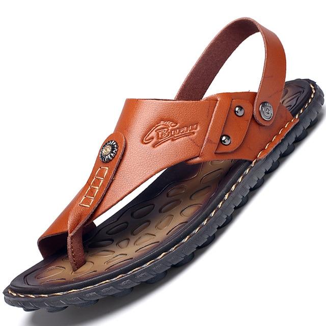 Men's Summer Genuine Leather Flip-Flops Slippers Beach Sandals Casual Shoes Moccasins Men Sandals Summer 2