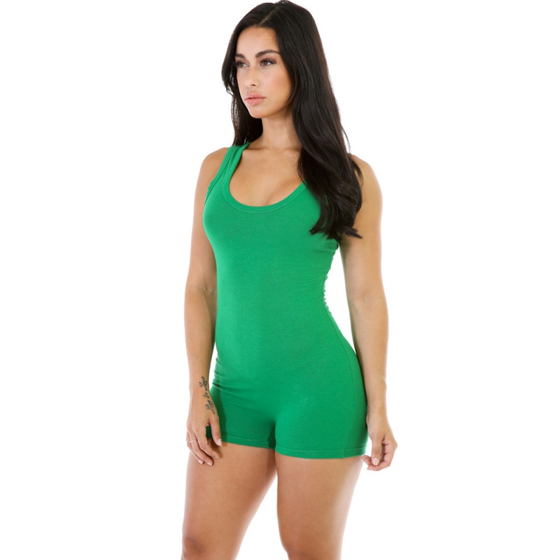 Women Sexy Sleeveless Solid Bodycon Playsuit Jumpsuits Summer Casual Fitness Workout Rompers Backless Slim Clubwear Playsuit in Rompers from Women 39 s Clothing