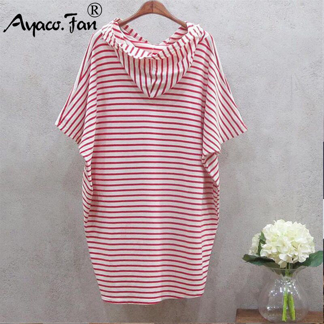 Women Hooded Striped Dresses 2019 Summer New Batwing Short Sleeve Loose Dress for Girls Lady Casual Slim Sundress Female vestido