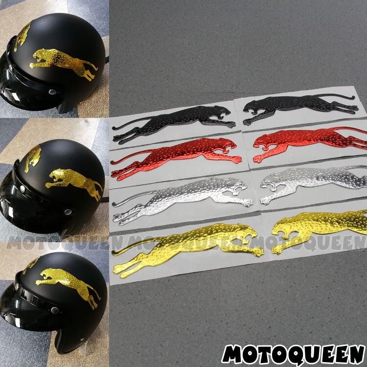 2Pcs/Pair 3D Leopard Auto Motorcycle Truck Helmet Sticker Emblem Tank Pad Decals For Haley Honda Yamaha Ninja Kawasaki Suzuki