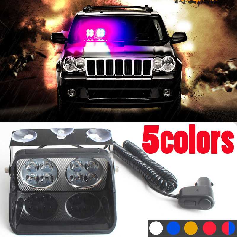 24W Led Strobe Light S8 Viper Car Flash Signal Emergency Fireman Police Beacon Windshield Warning Light Red Blue Yellow ltd 5111 dc12v flash car strobe warning light fireman emergency strobe light vehicle light with magnet bottom