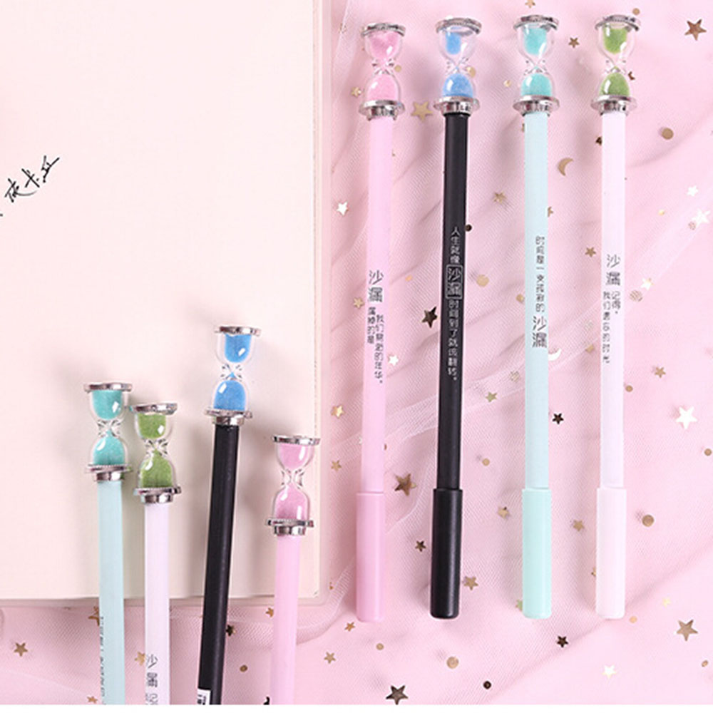 1 Pcs Kawaii Stationery 0.5mm Black Ink Creative Time Hourglass Gel Pen Student Plastic School Stationery Gifts Hot Sale