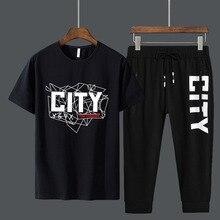 комплект из двух частей летние мужские наряды хлопчатобумажная футболка укороченные спортивные штаны