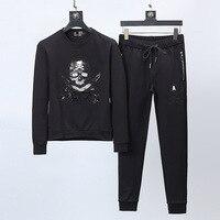 Новый Для мужчин бренда дизайнерский спортивный костюм Для мужчин костюм Толстовка Длинные штаны вышивка череп Повседневное спортивные ко