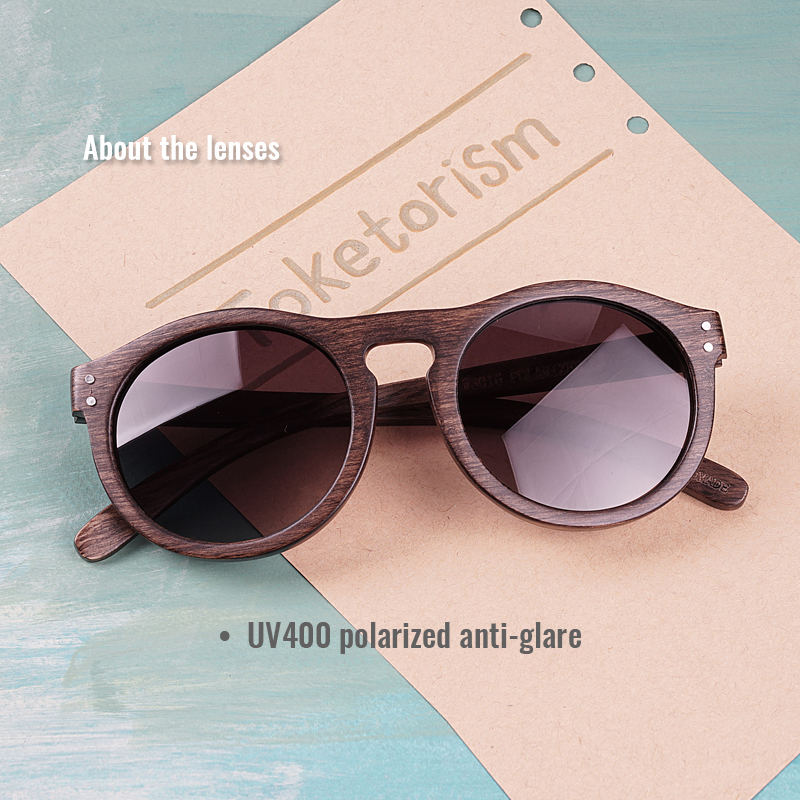 Toketorism round sunglasses wooden sunglasses men gradient lenses polarized women sun glasses 6103 in Men 39 s Sunglasses from Apparel Accessories